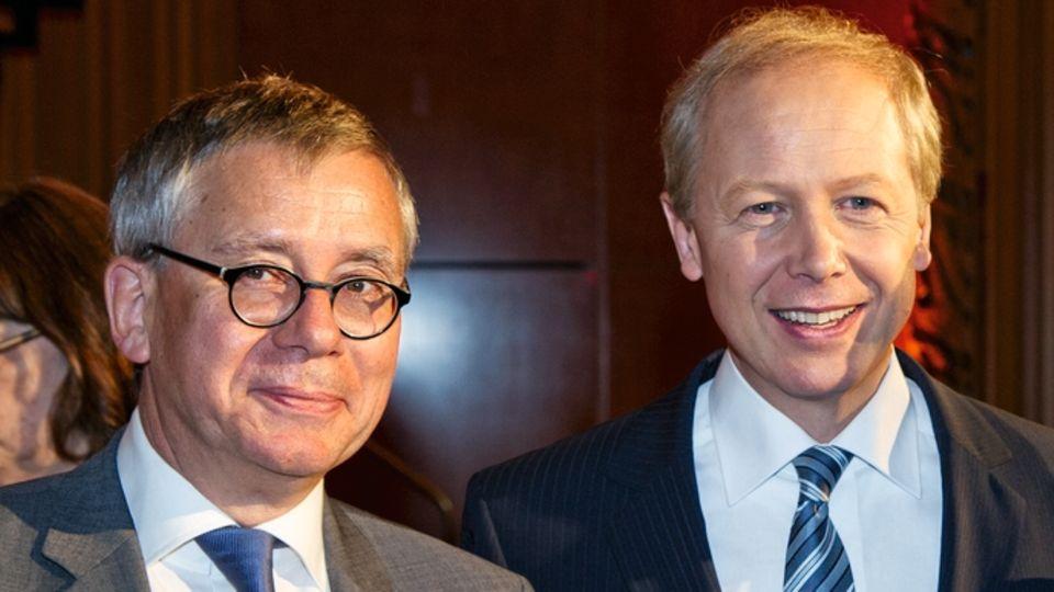 Ex-WDR-Fernsehspielchef Gebhard Henke (l.) mit Buhrow bei dessen Amtsantritt 2013