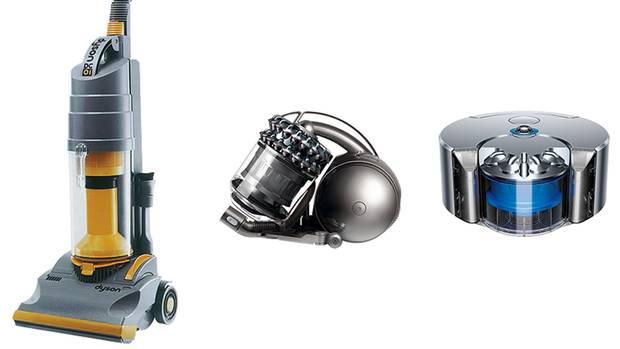 Nach 5126 Versuchen kam der beutelfreie Staubsauger raus (l.). Heute bietet man weiterentwickelte Geräte (M.) bis hin zum Roboter (r.) an.