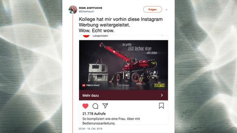 """Stein des Anstoßes: Die Werbung für den """"geländegängigen Kran"""" wird von Nutzern als sexistisch kritisiert"""