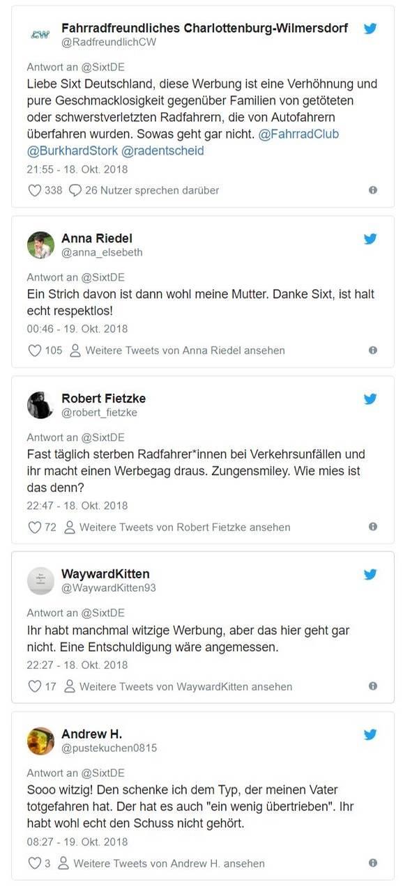 Einige der Reaktionen bei Twitter