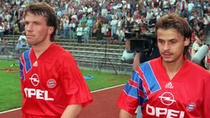 Lothar Matthäus und Olaf Thon 1992 im Trikot des FC Bayern