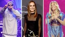 Eine Kombo zeigt von links nach rechts Rapper Sido, Schauspielerin Natalie Portman und Sängerin Helene Fischer