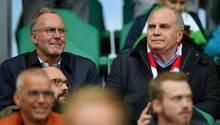 FCB-Boss Karl-Heinz Rummenigge (l.) und Präsident Uli Hoeneß sahen am Wochenende ein gutes Spiel der Bayern
