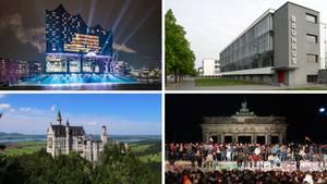 Touristenattraktionen in Deutschland: Elbphilharmonie Hamburg, Schloss Neuschwanstein, Bauhaus Dessau, 30 Jahre Mauerfall Berlin