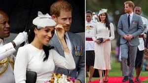 Meghan Markle und Prinz Harry bei ihrer Ankunft auf den Fidschi-Inseln