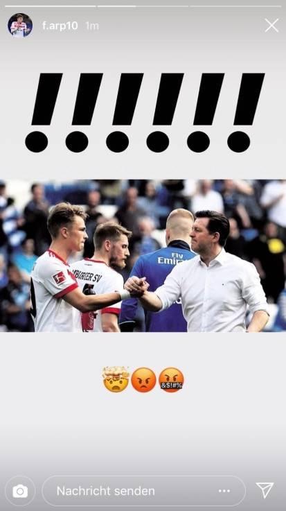 Jann-Fiete Arp auf Instagram zur Titz-Entlassung