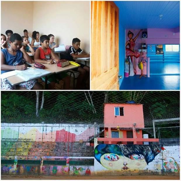 Lernende Kinder im Klassenraum, ein Tanzsaal und ein Fußballplatz