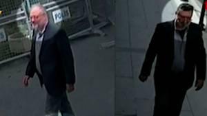 Aufnahmen von Überwachungskameras zeigen den Journalisten Jamal Khashoggi (l.) und einen mutmaßlichen Doppelgänger (r.), der das Konsulat in Istanbul nach dem Mord an Khashoggi verlassen haben soll