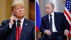 US-Präsident Donald Trump (l.) und sein russischer Amtskollege Wladimir Putin auf Archivbildern