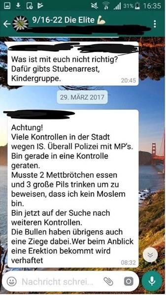 Ein Screenshot aus der WhatsApp-Gruppe der Auszubildenden der Polizei Sachsen