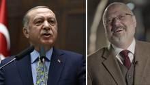 Der türkische Präsident Recep Tayyip Erdogan (l.), der getötete Journalist Jamal Khashoggi (Archivbilder)