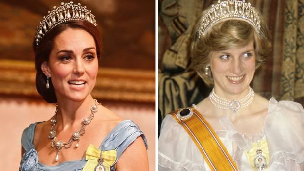 Gleiche Tiara, gleicher Anlass: Herzogin Catherine (2018) und Prinzessin Diana (1982) beim Staatsbankett für den niederländischen Regenten