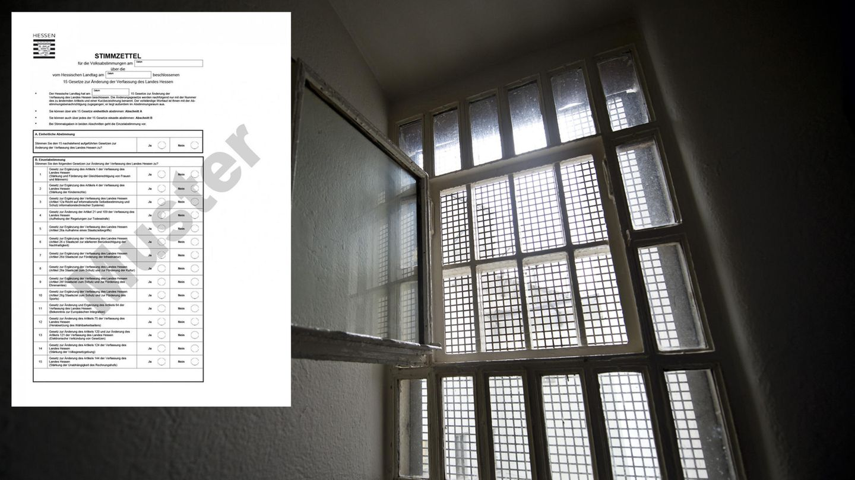 Abstimmung über Todesstrafe in Hessen: der Stimmzettel und ein Fenster einer Gafängniszelle
