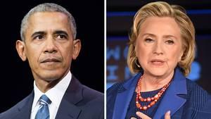 Barack Obama und Hillary Clinton in einer Bildcombo