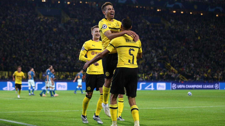 Raphael Guerreiro feiert das zweiteTor fürBorussia Dortmund im Spiel gegenAtletico Madrid