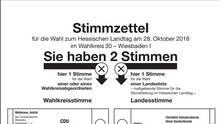 Musterstimmzettel eines Wahlkreises in Wiesbaden
