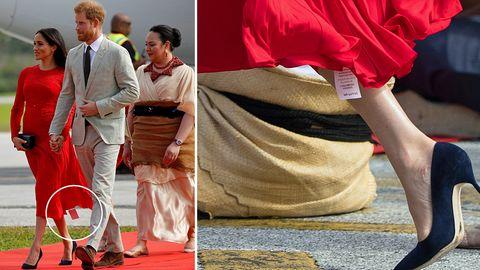 Besuch auf Tonga: Schatz, du hast da was hängen! Meghan vergisst Etikett am Kleid zu entfernen
