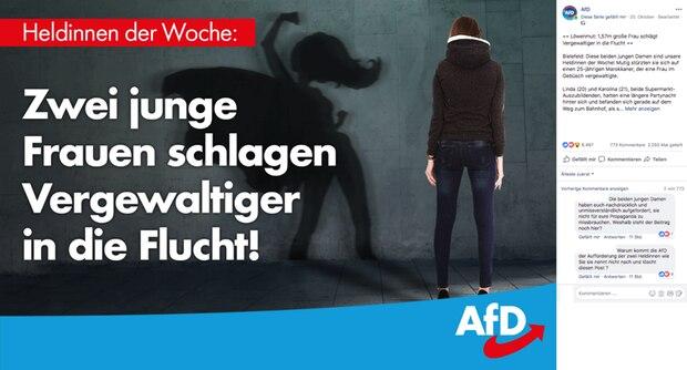 Das Posting der AfD, gegen das die beiden Heldinnen protestieren