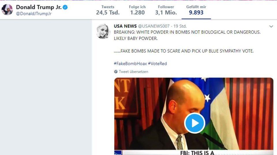 Präsidentensohn Donald Trump jr. hat einen Tweet geliket, in dem verbreitet wird, die US-Demokraten hätten die mutmaßlichen Rohrbomben selbst verschickt