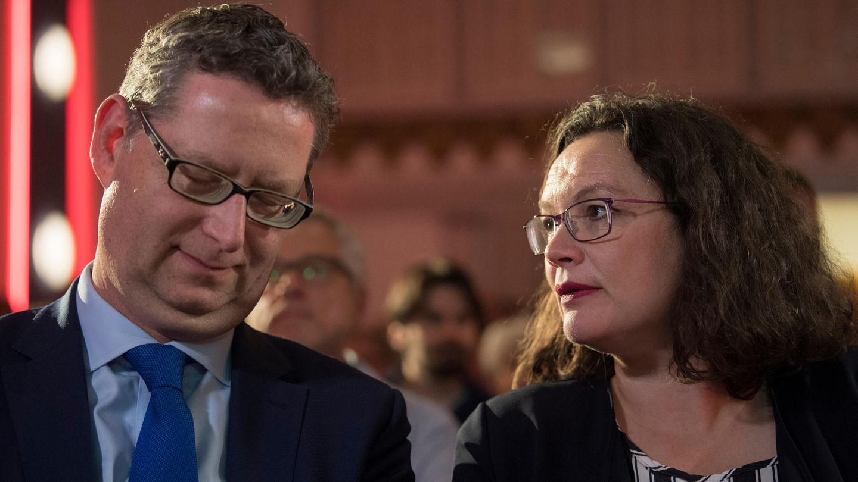 Thorsten Schäfer-Gümbel, hessischer SPD-Spitzenkandidat für die Landtagswahl, und Andrea Nahles