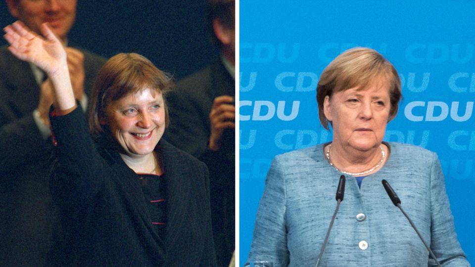 Angela Merkel nach ihrer Wahl zur CDU-Vorsitzenden im Jahr 2000 (l.) und vor der Hessenwahl 2018
