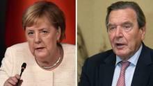 Bundeskanzlerin Angela Merkel (CDU) zählte dem damaligen Bundeskanzler Gerhard Schröder 2004 bei dessen Verzicht auf den SPD-Vorsitz an