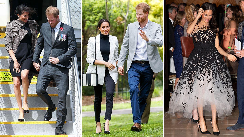 Ob günstiges Umstandskleid, sportlicher Blazer oder opulente Abendrobe: Während ihrer 16-tägigen Reise durch Australien und Neuseeland, zog Herzogin Meghan mit ihren Outfits alle Blicke auf sich. Bis zu dreimal am Tag wechselte die 37-Jährige ihre Garderobe, trug lokale Designer ebenso wie internationale Luxuslabels. Ein wirkliches Schnäppchen sind Meghans Look selten, vor allem der Schmuck, den sie trägt, ist oft hochpreisig. Ein Rückblick auf die Looks der Pazifik-Tour und was sie gekostet haben.
