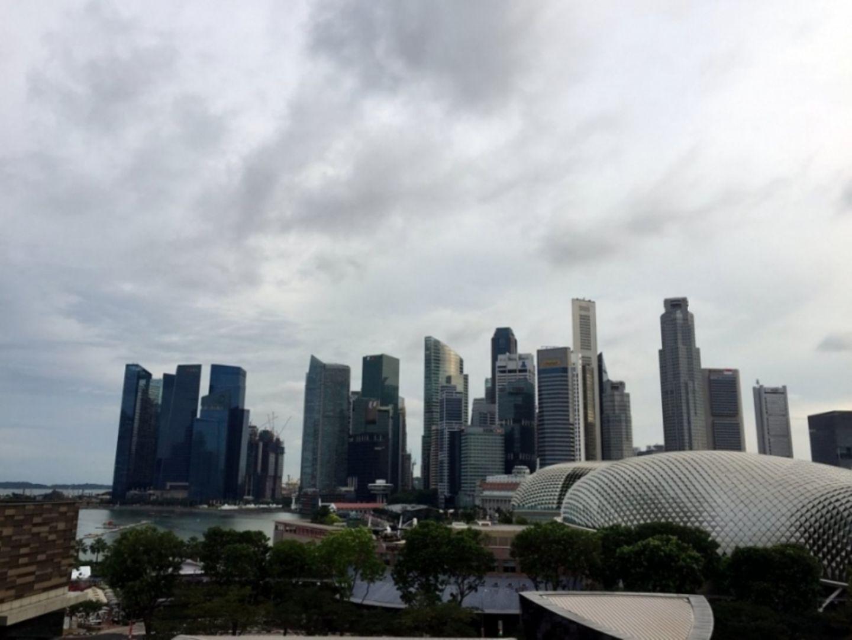 Skyline des Financial Districts von Singapur