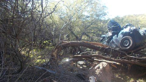 Von der Straße kaum zu erkennen: Der Wagen einer 53-Jährigen blieb nach einem Unfall in Arizona in einem Baum hängen. Tagelang wurde sie nicht entdeckt.