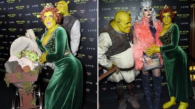Heidi Klum und Tom Kaulitz mit Baby-Ogern sowie Bill Kaulitz als Dragqueen