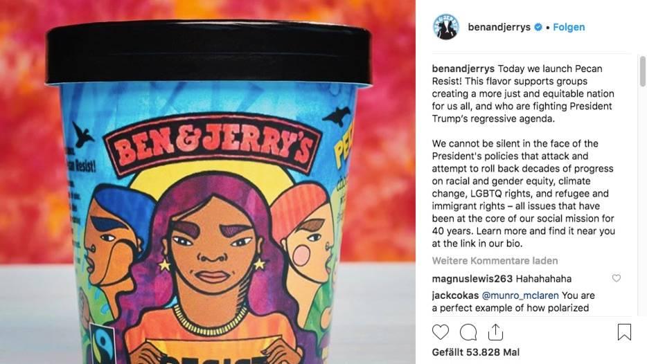 """Mit dieser Eissorte will """"Ben & Jerry's"""" Gruppen unterstützen, die sich für """"eine gerechtere Nation"""" einsetzen – und sich gegen """"Trumps rückläufige Agenda"""" wehren"""