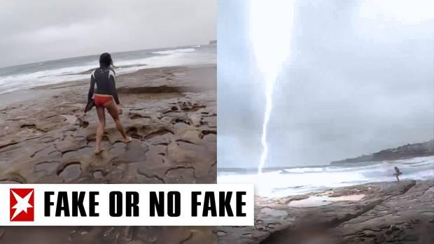Collage: Junge Frau am Meer, Blitzeinschlag