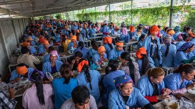 Mittagessen unter dem Schattendach bei Seduno. Viele der Frauen essen nicht genug, sie sparen für ihre Familien.