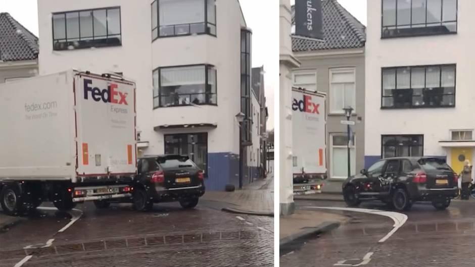 Luxuskarosse ruiniert: In der Lieferzone geparkt: Porsche-Fahrer muss es auf die harte Tour lernen
