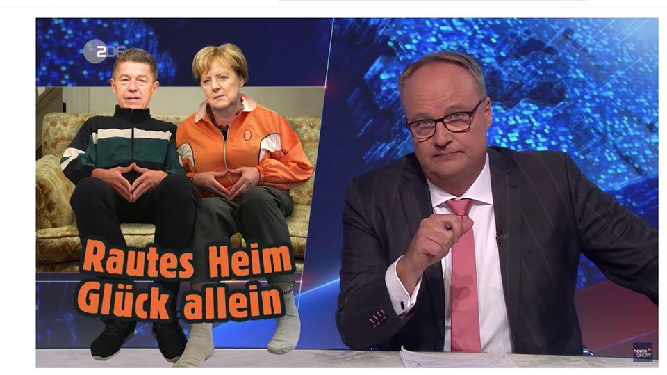 Oliver Welke und Angela Merkel