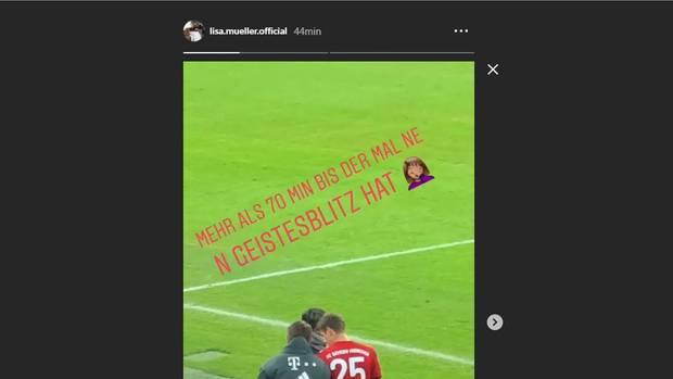 Ein Screenshot zeigt einen Instagram-Post von Thomas Müllers Frau Lisa, im dem sie gegen Bayern-Trainer Kovac pestet