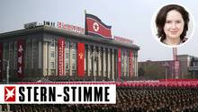 Soldaten marschieren während einer Militärparade in Nordkorea