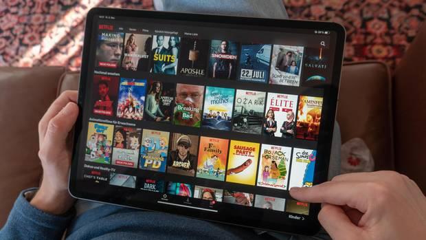 Netflix Startseite auf einem Tablet