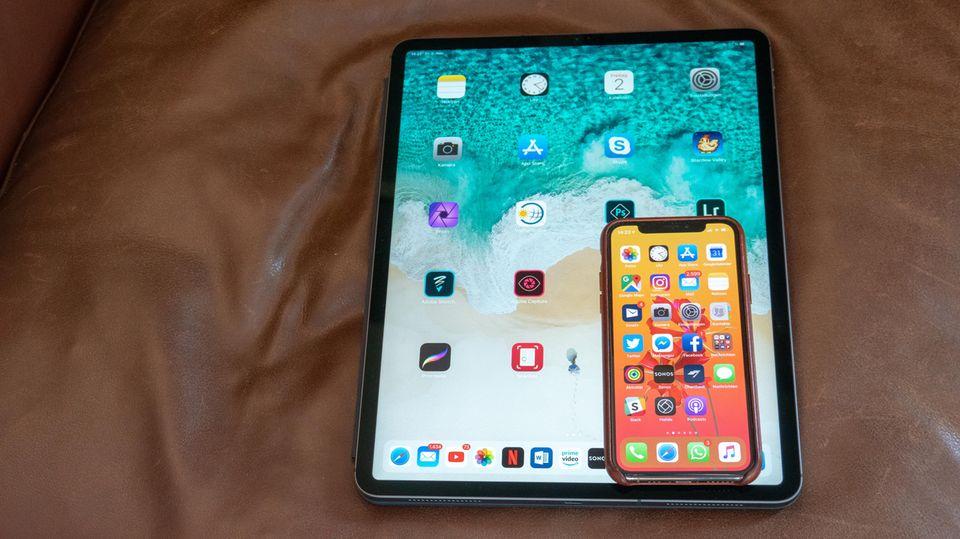 Der Home-Screen ist auf dem 12,9-Zoll-Modell nicht zeitgemäß. Zwischen zwei Kacheln passt ein ganzes iPhone.