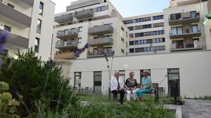 Einblick in den Innenhof desHartwig-Hesse-Quartiers inHamburg St. Georg.