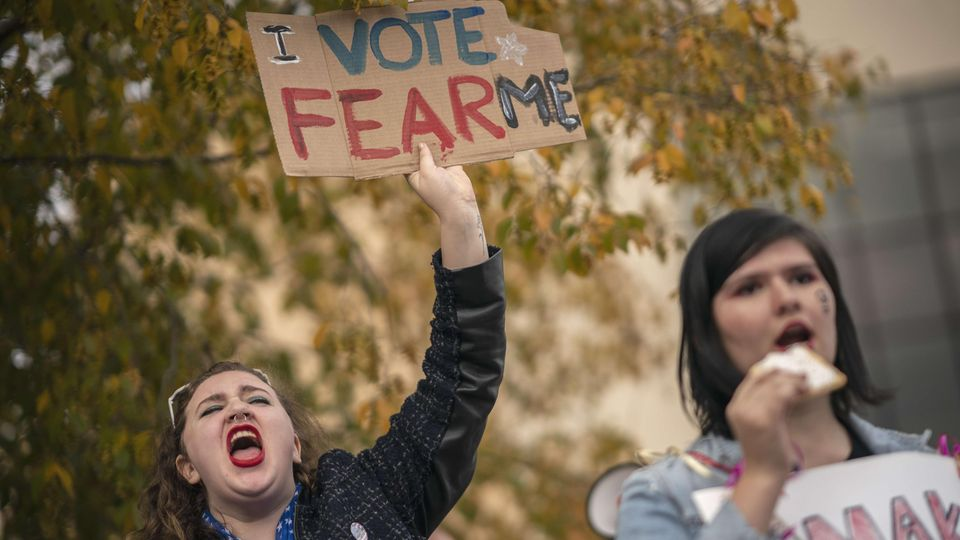 Vor Midterms: Protestaktion gegen Donald Trump in Chattanooga im US-Bundesstaat Tennessee