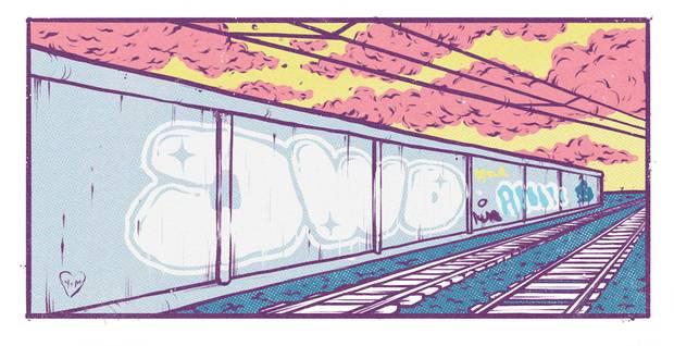 Graffities an der Lärmschutzwand – die kleinen Freuden der Bahnreisenden