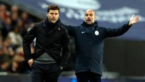 Mauricio Pochettino und Pep Guardiola stehen an der Seitenlinie