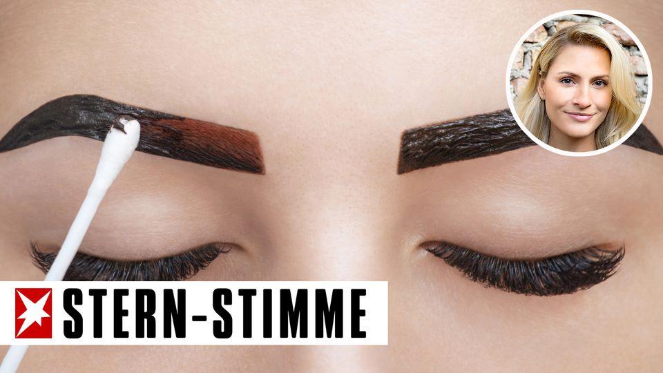 Augenbrauen werden geschminkt