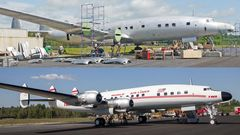 Vorher und nachher:Seit den 80er Jahren stand die viermotorige Propellermaschine am FlughafenAuburn-Lewistonin Bundesstaat Maine. Zuletzt diente sie der Lufthansa-Technik als Ersatzteillieferant für die Restaurierung einer weiteren Maschine, die sich noch dort befindet.