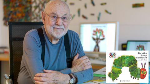 Kinderbuchautor Eric Carle an seinem Schreibtisch