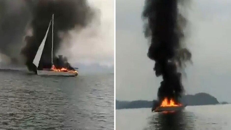 Drama in Thailand: Neun Touristen an Bord: Luxus-Yacht fackelt ab