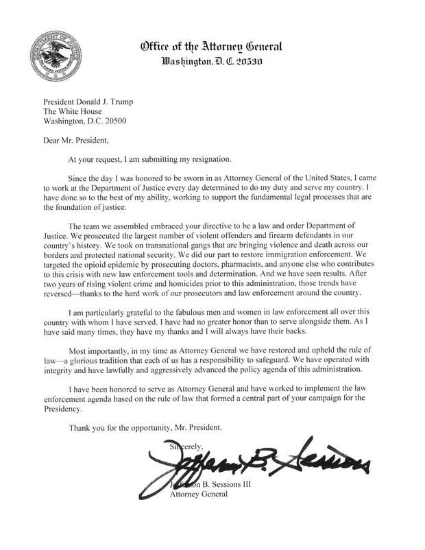 Das schriftliche Rücktrittsersuchen von Justizminister Jeff Sessions an US-Präsident Donald Trump
