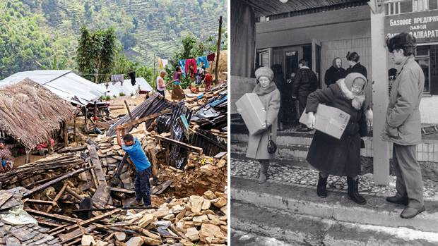 Links: Erdbebenkatastrophe in Nepal 2015. Rechts: notleidende Menschen in Russland 1990