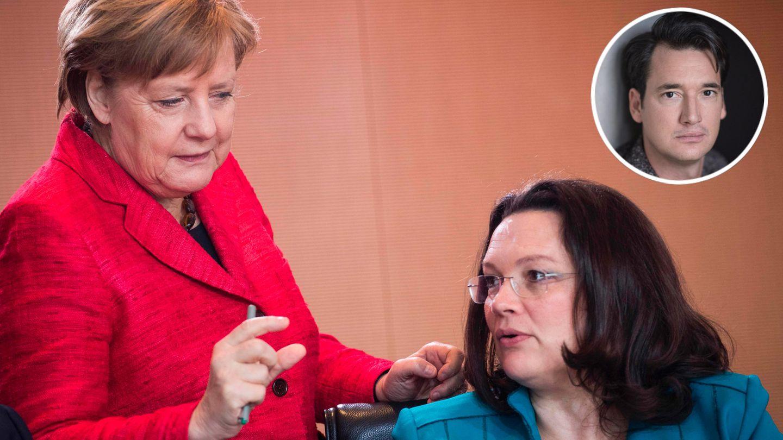 Angela Merkel (CDU) und Andrea Nahles (SPD) und Gastautor Andreas Barthelmess (Kreis oben rechts)
